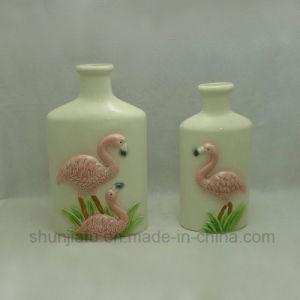 Керамическое Pantter фламингоов застекленное вазой
