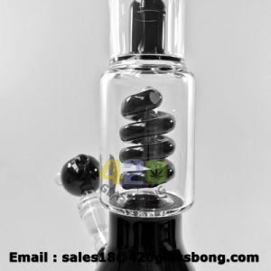 Schwarzes Blatt-erstklassiges gewundenes Birne Perc Zylinder-Eis-Becher-Rohr-Glasglaswasser-Pfeife