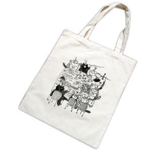 Borlas en blanco y negro de la bolsa de lona Double-Shoulder