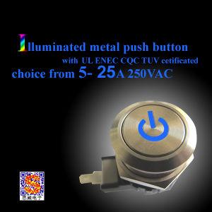 25A IP67 de Waterdichte Verlichte Schakelaar van de Drukknop van het Metaal met Snelle Schakelaar 250 of Getelegrafeerd (MW28)