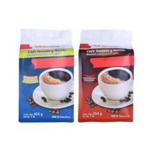 FDAの標準カスタムReuable Resealableジップロック式の黒い光沢がある終わりによって薄板にされる生物分解性弁のコーヒーバッグ