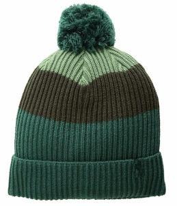100%アクリルの通気性の骨があるCustomziedによって編まれるロゴタブが付いている帽子によって編まれるPOMメンズ冬の帽子は袖口を飾る