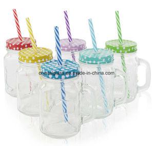 Vaso di muratore di vetro di Fabbrica-Dirigere-Vendita con la maniglia