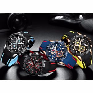 Enfoque mini Moda Negocios OEM logotipo personalizado a los hombres reloj de pulsera con caja de regalo