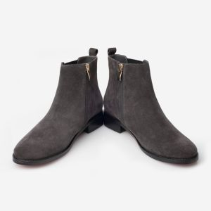 最上質の灰色のビロードの女性のための伸縮性があるコードの足首のブートデザイン