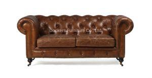 Homefurniture Vintage estilo americano puro Chesterfield sofás de cuero completo
