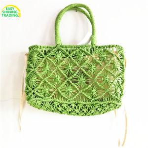 Paja De Papel Tejido Crochet Bolso Paja De Papel Tejido Crochet