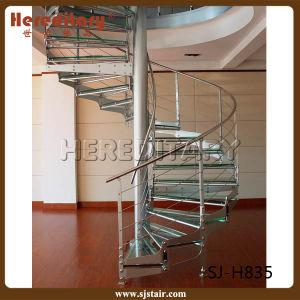 炭素鋼の縦桁が付いている螺旋階段を柵で囲むガラスケーブル