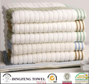 100% algodão toalha Jacquard com Satinborder Stripe