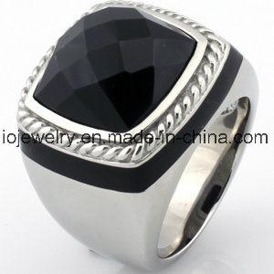 Douane 316 Ring van het Agaat van het Roestvrij staal de Zwarte