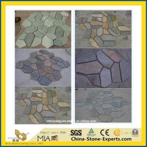 Naturel noir/gris/vert/dégringolé/Crazy/toiture/de forme irrégulière de pierre pour l'asphaltage/revêtement de sol en ardoise/revêtement mural decoration
