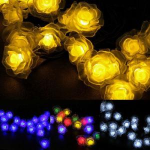 Angeschaltene im Freiensolarzeichenkette beleuchtet 50 Blumen-wasserdichtes feenhaftes Garten-im Freienhochzeits-Weihnachtsdekorative Lichter LED-Rose