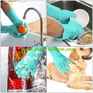 Magic luvas para lavar louça com esfregão, limpeza de Silicone Esfoliação reutilizáveis luvas para lavar prato, cozinha equipada, casa de banho