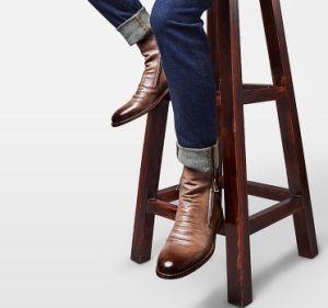Último projeto Zipper Botas Homens de couro impermeável