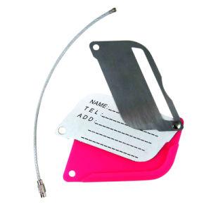 Comercio al por mayor costumbre de promoción de los viajes en avión PU/cuero/protector de plástico de PVC suave Goma Etiqueta de Equipaje para regalos de recuerdo (002)