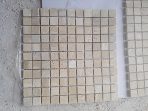 Het beige Marmeren Mozaïek van de Steen van de Travertijn voor Buitenkant