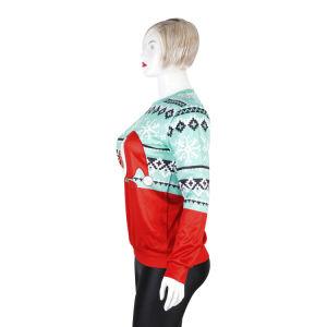 새로운 디자인 크리스마스 선물을%s 방풍 자카드 직물 스웨터 편물