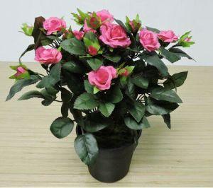 35cm Rosa Artificial Bush Flor de tecido com potenciômetro