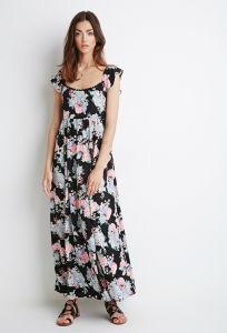 Mode Femmes Flutter manchon Pac fleur Allover Maxi robe d'impression