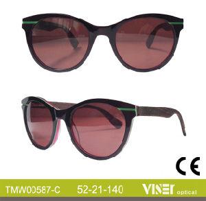 De nieuwe Zonnebril van het Frame van de Acetaat van het Ontwerp Met de hand gemaakte Houten en van het Bamboe, (587-a)
