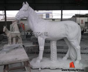 Het grijze Dierlijke Beeldhouwwerk van het Paard van de Steen van het Graniet voor de Decoratie van de Tuin