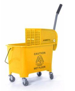 Impacto elevado 36L plástico amarelo Mop baldes com espremedor de gavetas