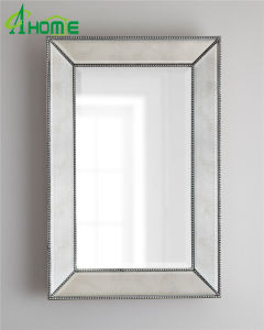 Grand châssis perlé silver Wall Hanging miroir antique