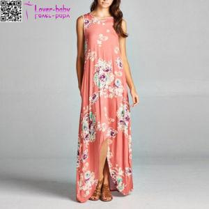 Nouveau style de la mode Élevée Faible Maxi robe florale L51417