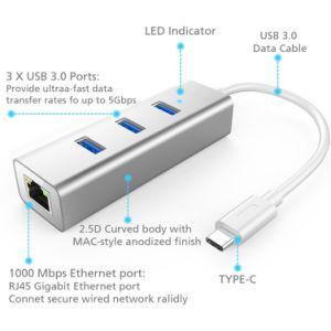 3 Puertos USB-C A USB 3.0 HUB de Datos Portátil de Aluminio con Conectores RJ45 Adaptador LAN Ethernet.