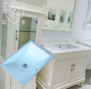 Cupcは承認した浴室の陶磁器の長方形の下の反対の洗面器(SN015)を