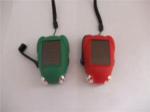 2 Em 1 em forma de rã Solar 2 LEDS Manivela Dínamo lanterna