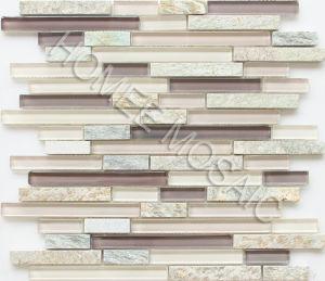 Blend Mélange de verre de verrouillage de pierre mosaïque Mesh-Mounted Wall Tile