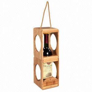 De creatieve Geassembleerde Houten Doos van de Rode Wijn met het Handvat van de Kabel