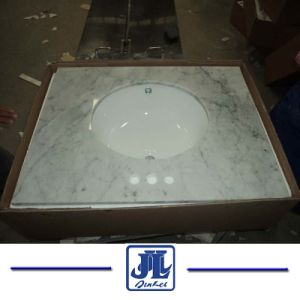 Opgepoetste Marmeren Ijdelheid Hoogste Wit Carrara voor Badkamers