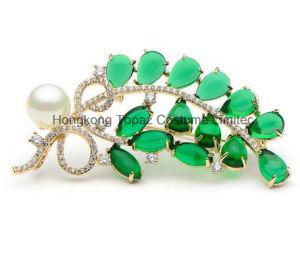 Broches van de Bloem van de Steen van het Koper van het kristal de Groene Halfedel voor de Vrouwen Gesimuleerde Spelden van de Broche van de Bladeren van de Parel (EB03)