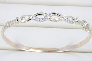 braccialetto dell'oro giallo 10K con il diamante (LBAD1009)