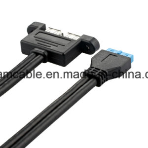 50cm double USB3.0 à 20broches câble court-circuit support profil bas