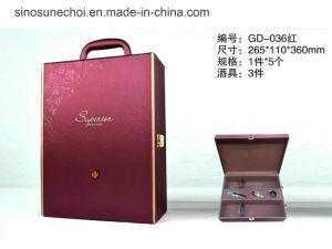Contenitore di regalo classico di cuoio di memoria del vino dell'unità di elaborazione della bottiglia su ordinazione della maniglia 2