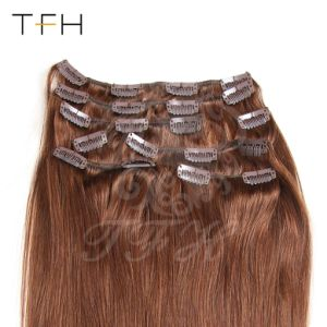 Верхнюю часть волос моды машины в Сен Реми прибора Clip в области расширения волос головы в полном объеме, каштан Браун (8#) прямые волосы добавочный номер прибора Clip в волосы 161820222426