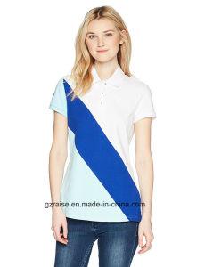 소매 형식 폴로 셔츠가 대조 색깔 여자에 의하여 누전한다