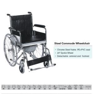 Aço clássico Commode cadeira de rodas