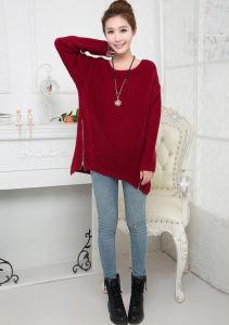 Fashion Acrylic Knitted Zipperの女性プルオーバーのセーター(YKY2002)