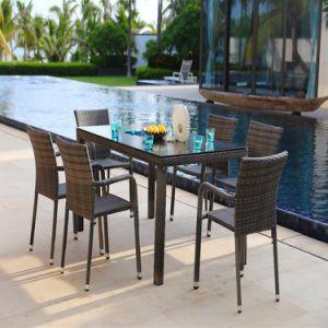 6 Seaterのセット-ブラウン食事する屋外の藤の庭の家具