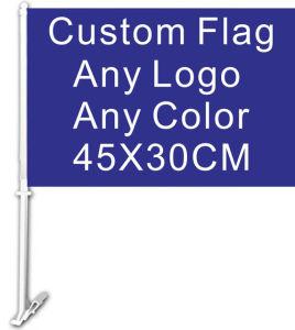 Coche personalizado bandera 30x45cm a doble cara 100d Polyester Banner con poste indicador de plástico de 50cm