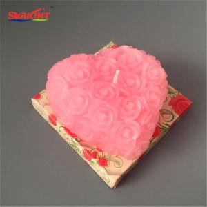 Rosafarbenes Inneres formte Rosen-Valentinstag-Kerze im Geschenk-Satz