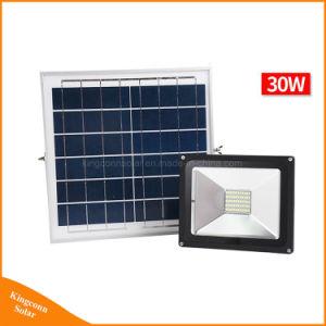 Seguridad de alta potencia 30W Lámpara recargable Solar LED impermeable Faroles de jardín