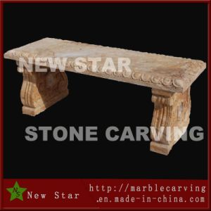 Rectangular Top Plate Travertine Marble Bench in Garden