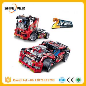 608PCS 2 no aluguer de carro de corrida 1 Transformável Modelo de Veículo de Combate a conjuntos de blocos de construção Legoings Brinquedos