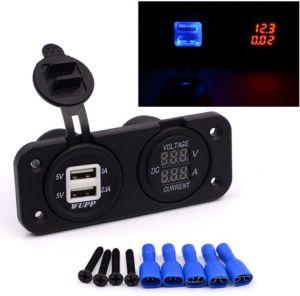 Cargador de coche USB doble toma de corriente de Sockets con LED Monitor de Panel de visualización digital Voltímetro y Manómetro Medidor de corriente para barco/AP