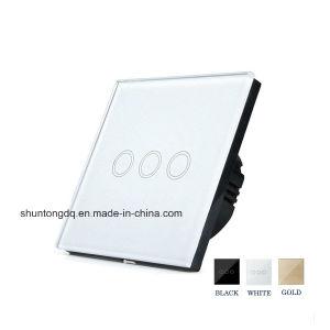 Умный Дом - ЕС/UK Настенный светодиодный индикатор переключателя нажмите переключатель освещения 110-240 V 3 токопроводящей дорожки 1 способ водонепроницаемый Crystal закаленное стекло панели